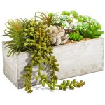 Artificial Mixed Succulent Plants In Rectangular Wooden Planter Box 9 X 4 X 5 Inches For Indoor And Outdoor Home Decoration Wedding Gift Walmart Com Walmart Com