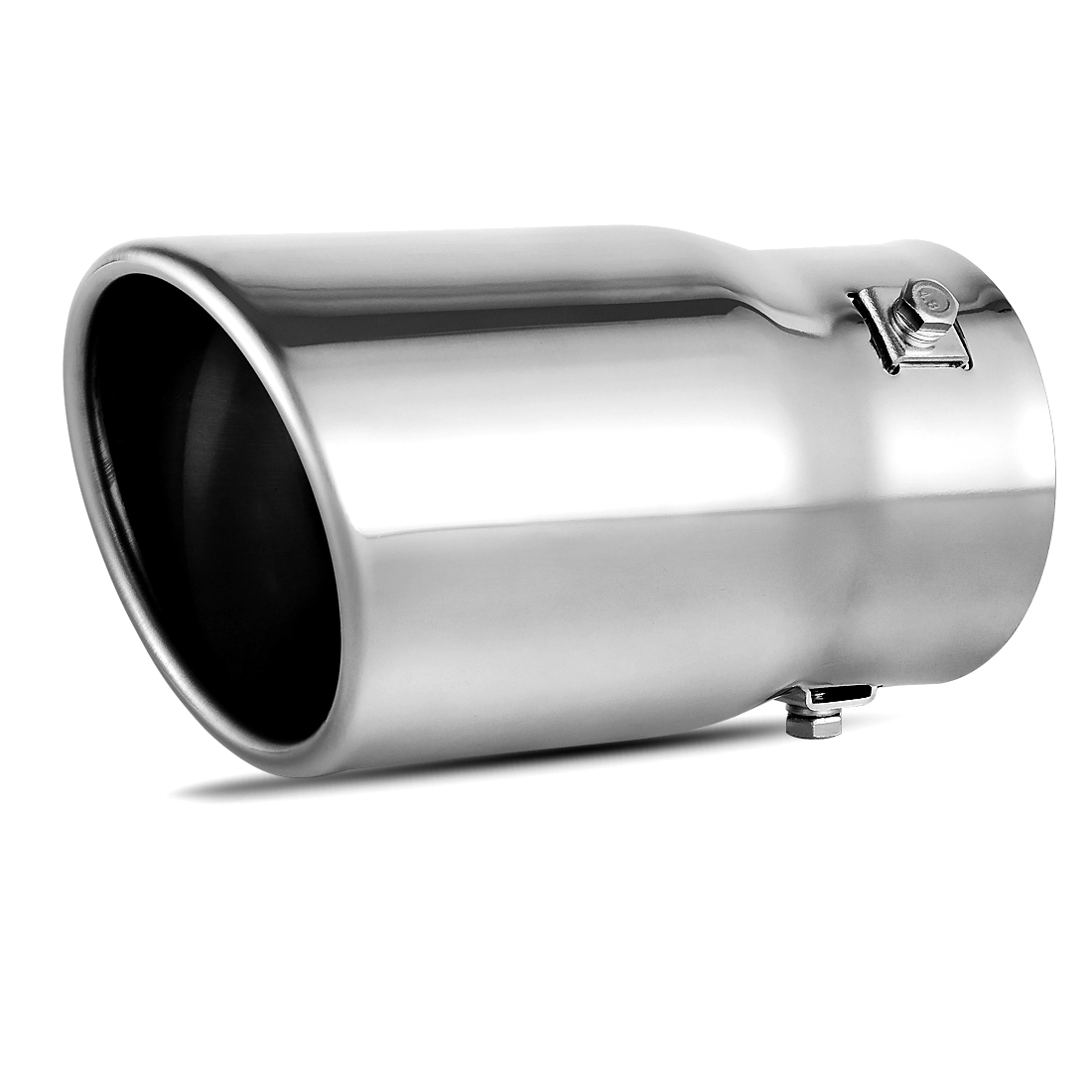 exhaust tip 2 3 inch inlet x 3 5 inch outlet x 6 inch long chrome polished stainless steel angle cut pipe rolled end tailpipe walmart com