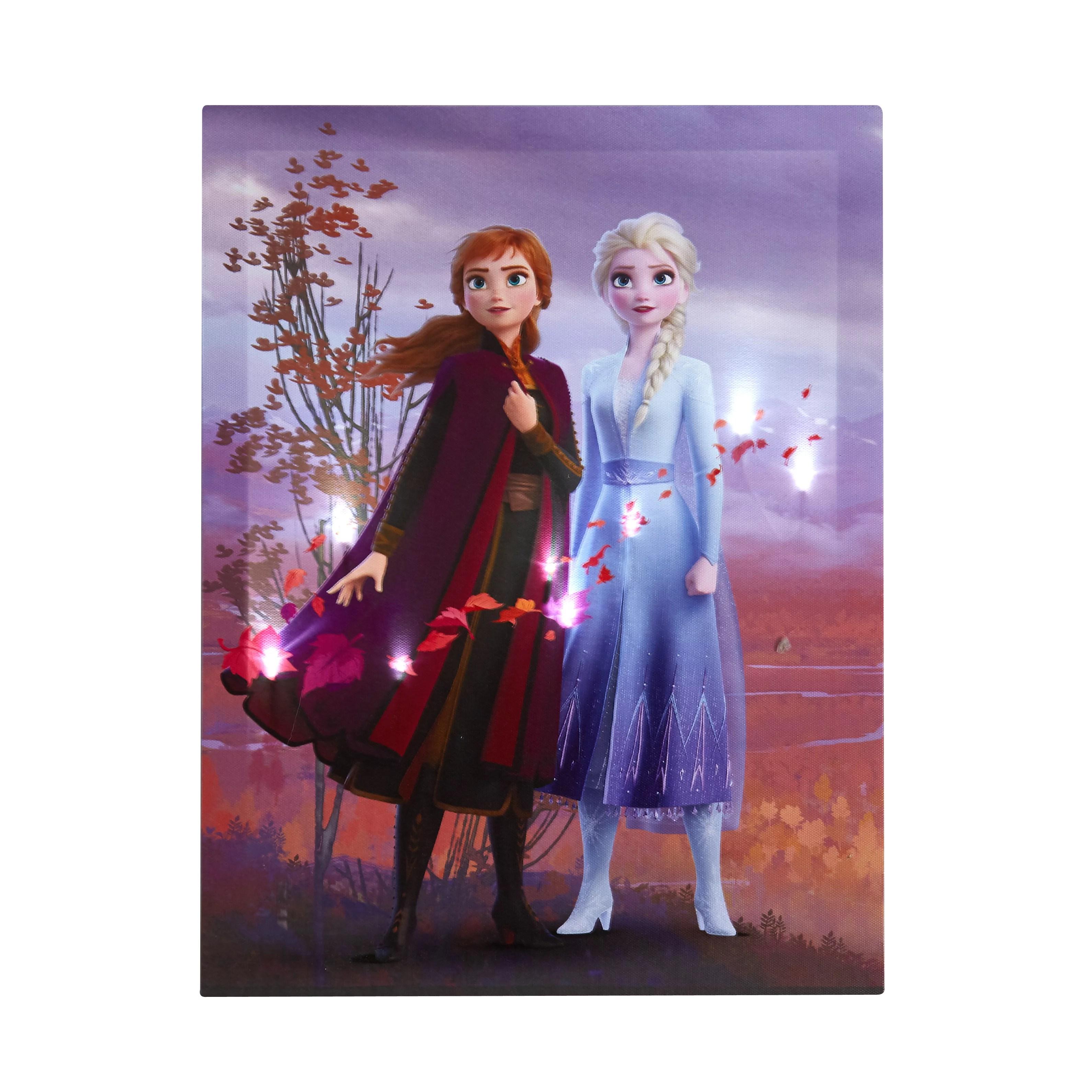 Disney Frozen 2 Led Canvas Wall Art Feat Elsa Anna Walmart Com Walmart Com