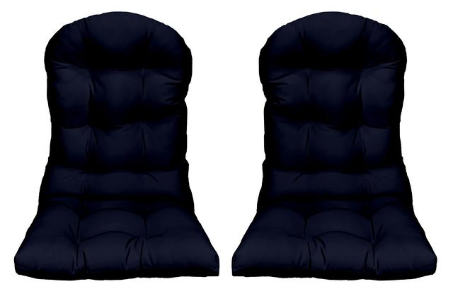 rsh decor outdoor patio set of 2 tufted adirondack chair seat cushions weather resistant solid navy blue