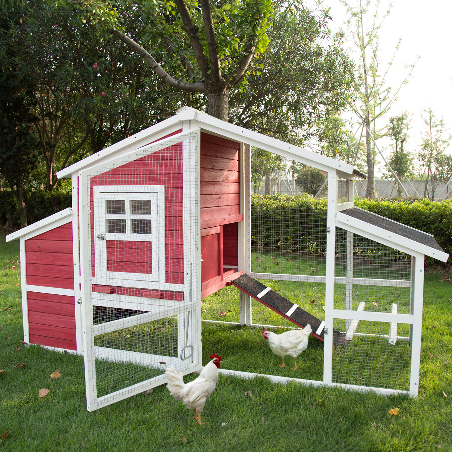 Kinbor 2 Tire Wooden Backyard Chicken Coop Rabbit Hutch Poultry Cage With Removable Tray Run Area Nesting Box Wire Fence For Birds Walmart Com Walmart Com