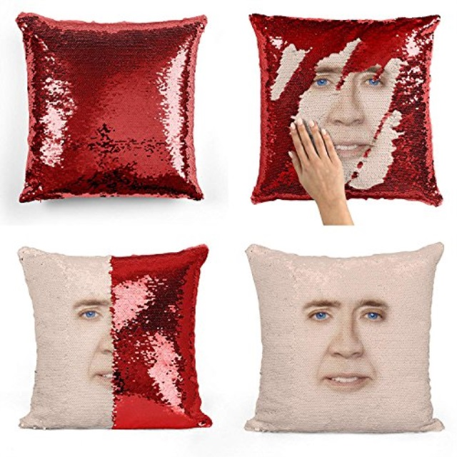 nicolas cage sequin pillow sequin pillowcase two color pillow gift for her gift for him magic pillow mermaid pillow scale