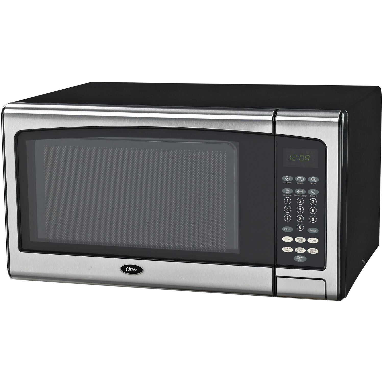 https www walmart com ip oster mid size 1 1 cu ft 1000w countertop microwave oven with stainless steel door trim 685961177