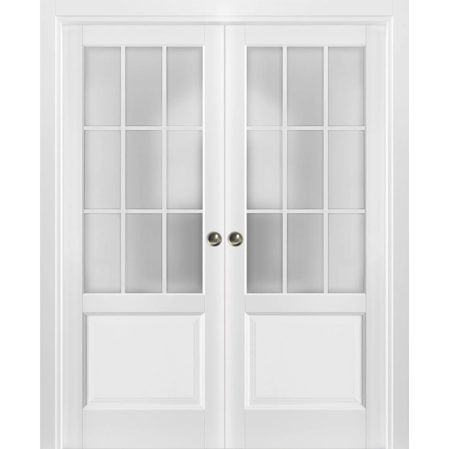 sliding french double pocket doors 60 x 80 inches frosted glass 9 lites