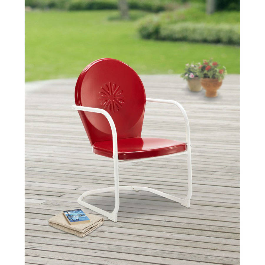 mainstays retro c spring outdoor red rocking chair walmart com