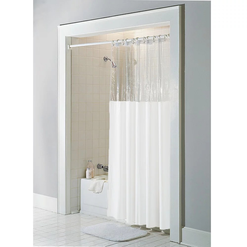 white vinyl windowed shower curtain liner clear top extra long 72 wide x 84 long walmart com