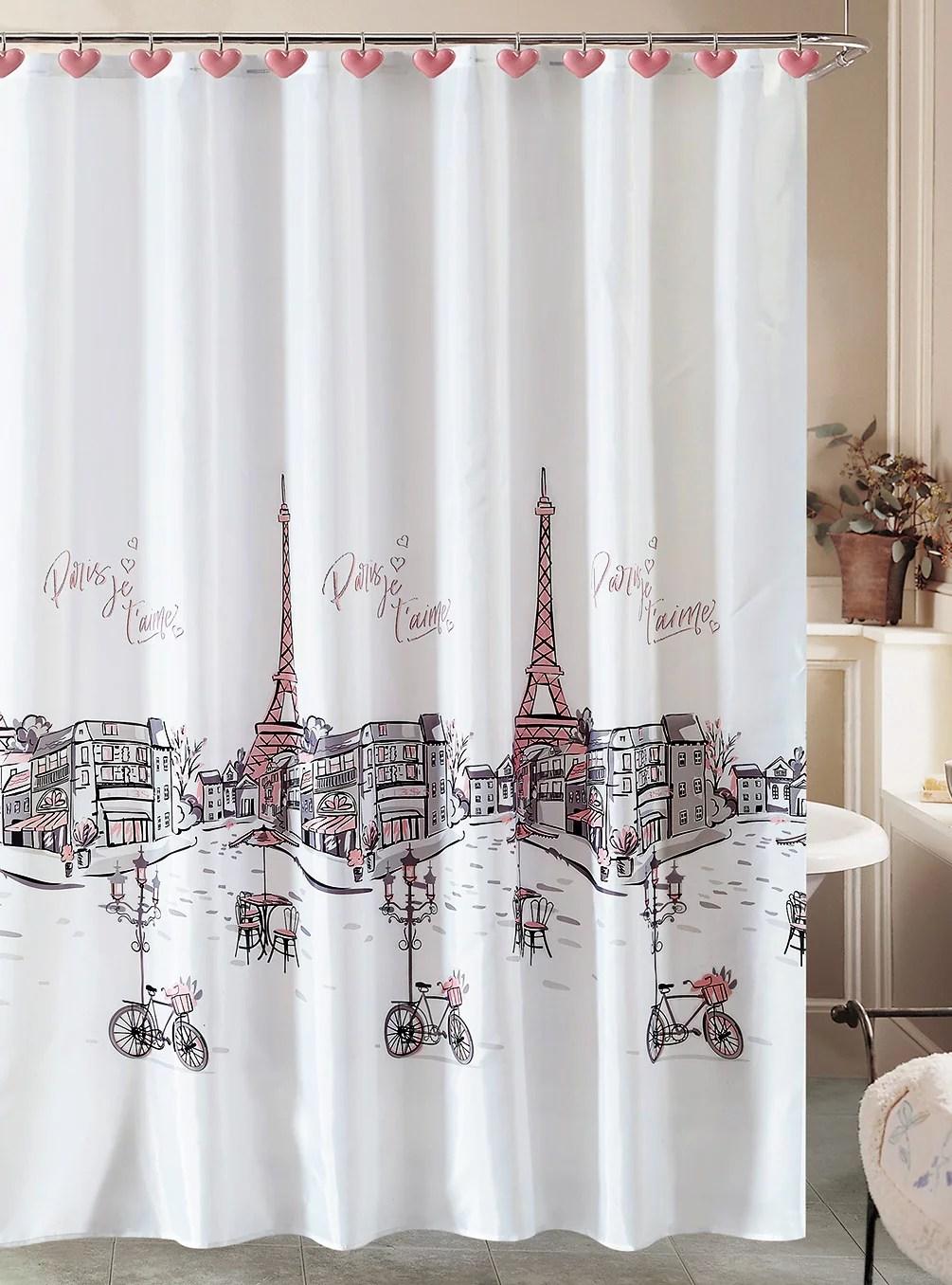 paris shower curtain and 12 resin hooks bathroom set eiffel tower french grey pink walmart com