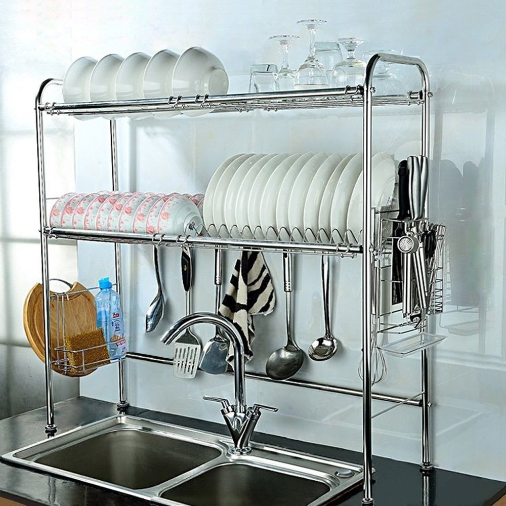 nex 2 tier adjustable 35 37 x 10 5 x 33 dish rack stainless steel