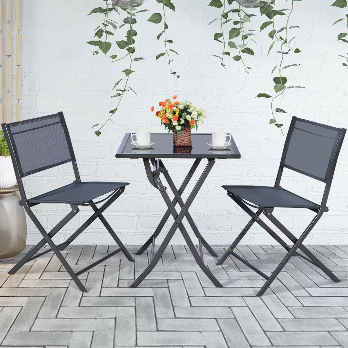 3pcs bistro set garden backyard table chairs outdoor patio furniture folding