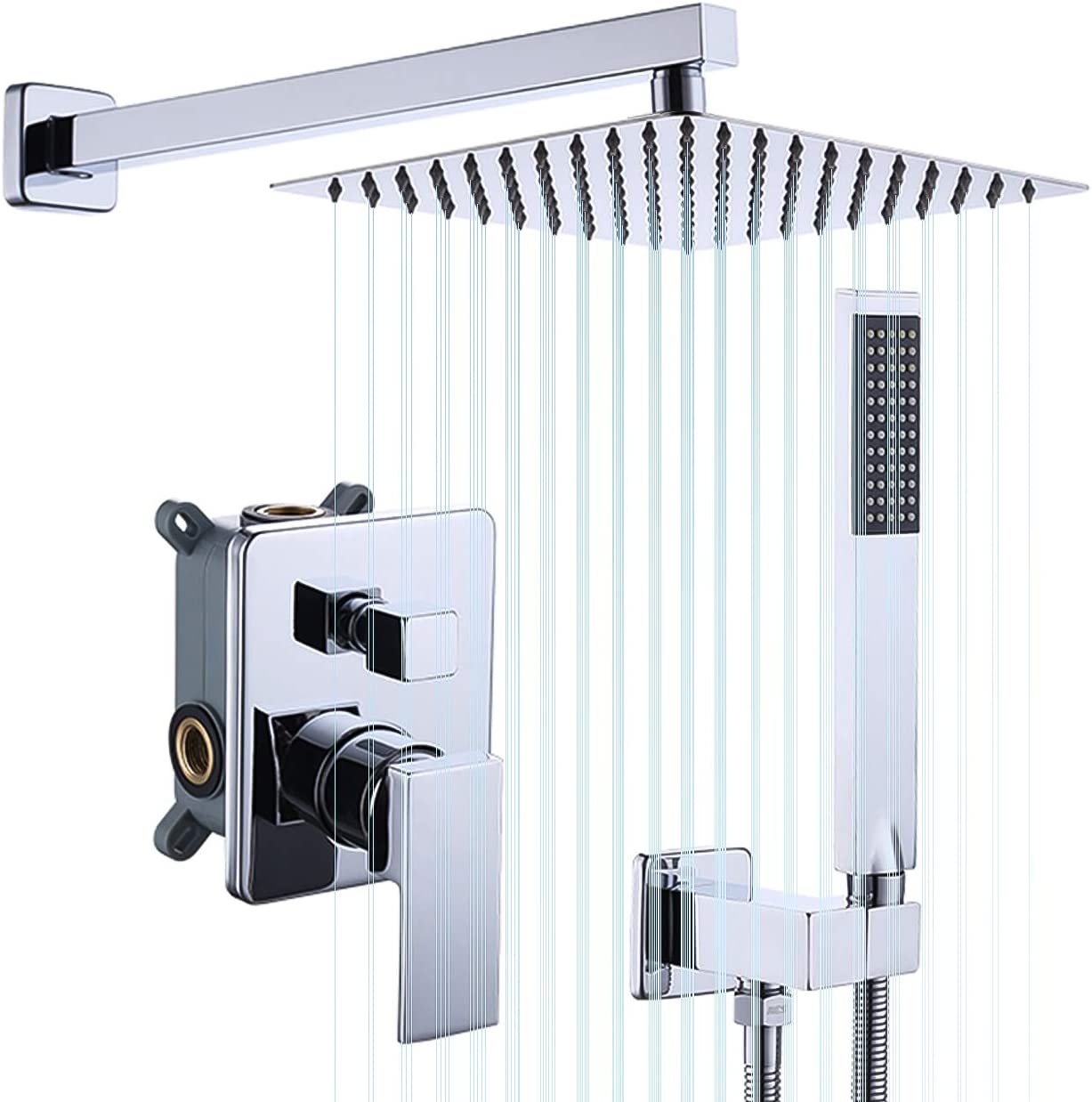 kes pressure balancing rain shower system shower faucet complete set square polished chrome including shower faucet rough in valve body and trim