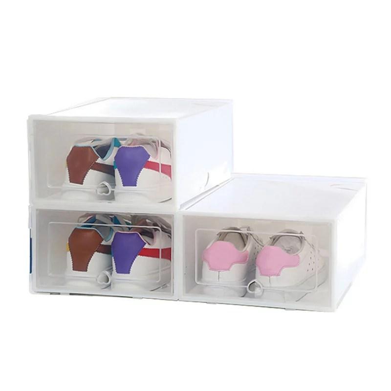 transparent shoe box storage box men s thick clamshell combination shoe cabinet plastic shoe box desktop storage artifact