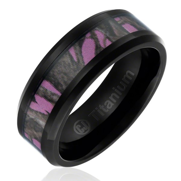 Women s Titanium Rings Womens Wedding Band in Titanium 8MM Black Plated Camo Hunting Ring with  Forest Camouflage on Pink