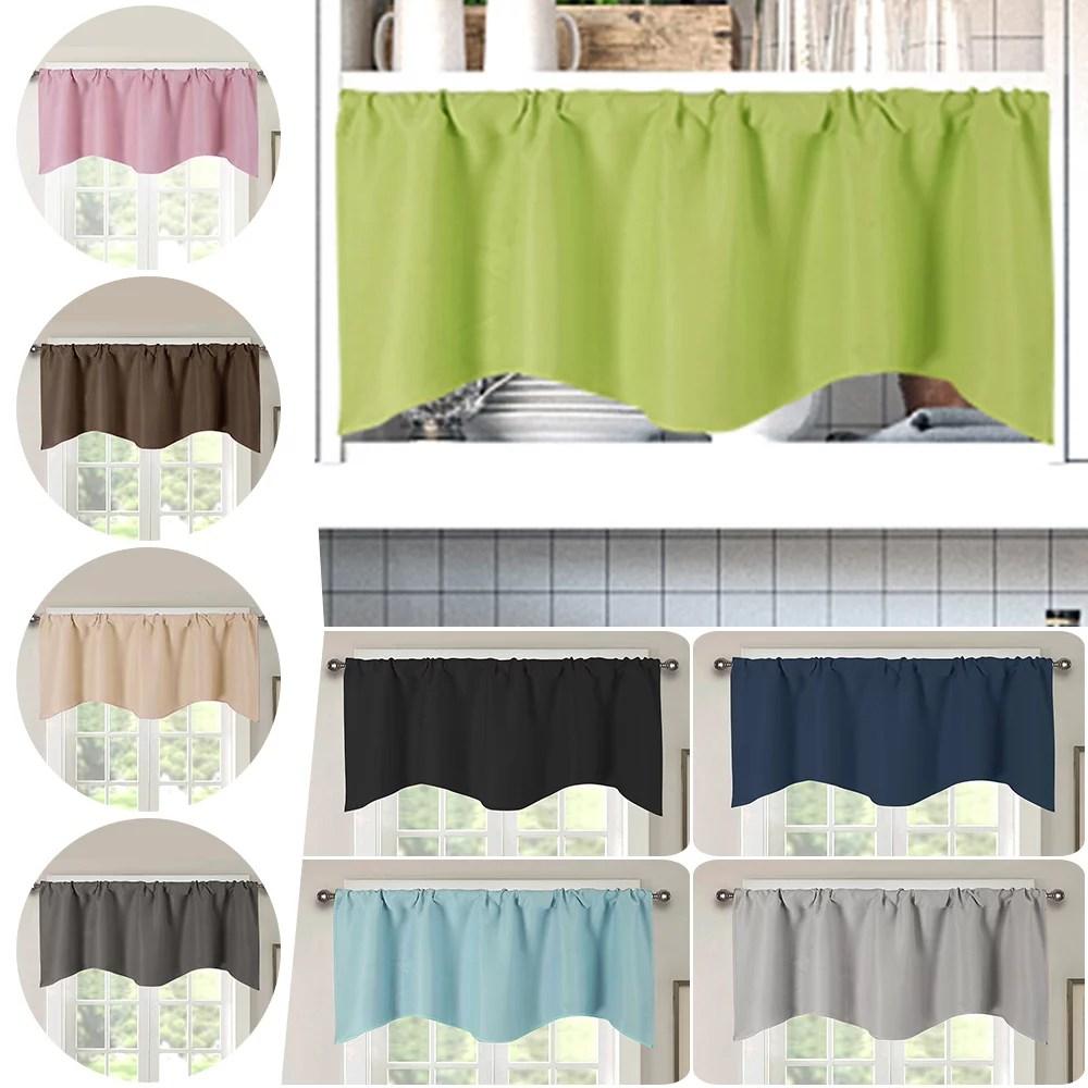 rod pocket short blackout window curtain panel for cafe bathroom door kitchen decor energy efficient light blocking