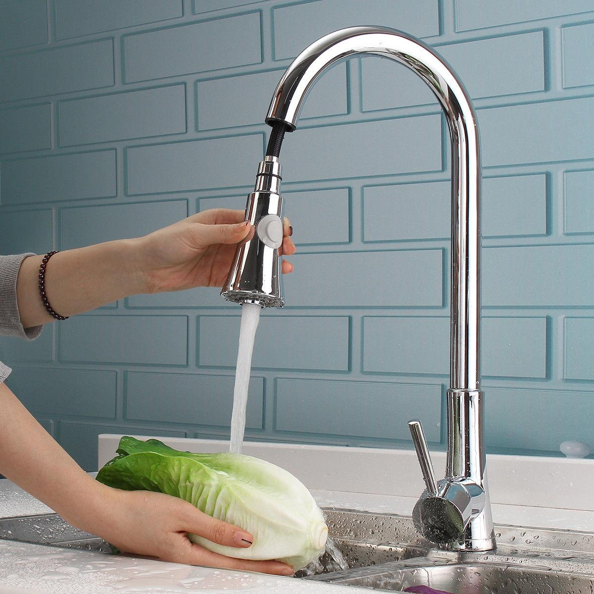 ktaxon commercial stainless steel single handle pull down sprayer kitchen faucet pull out kitchen faucets brushed nickel walmart com