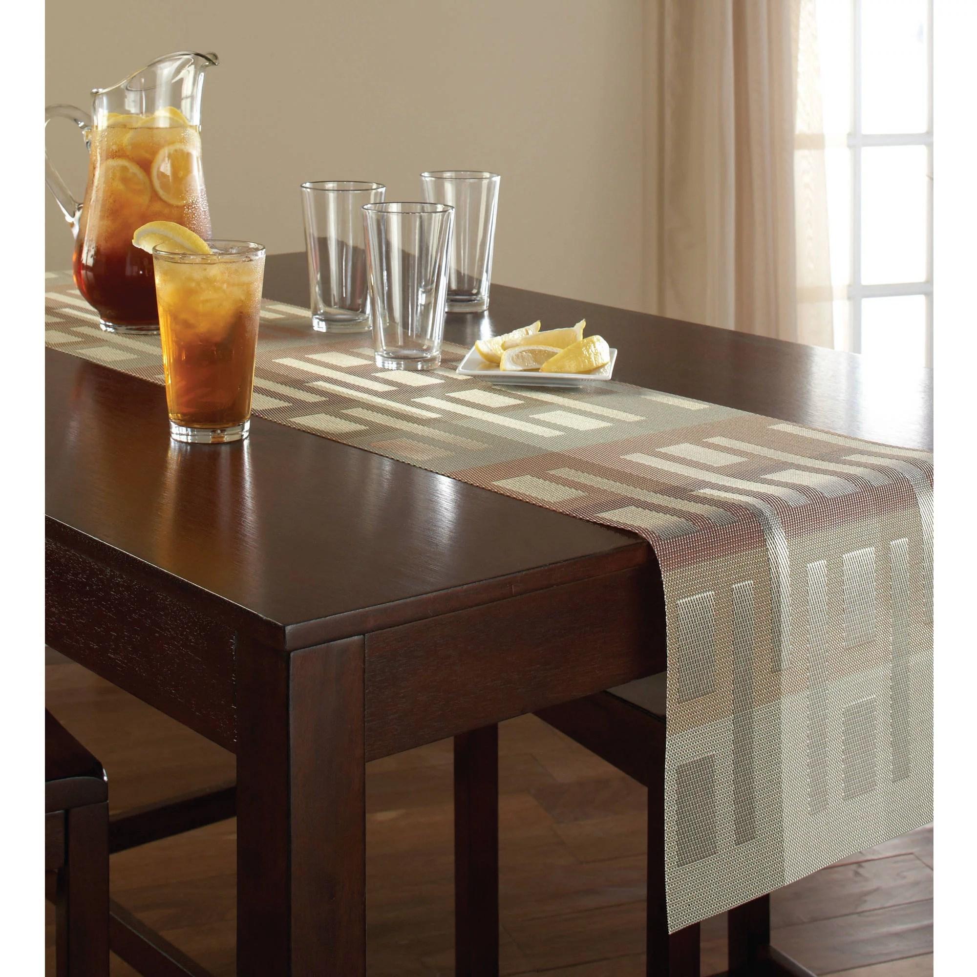 mainstays illusion woven vinyl taupe table runner