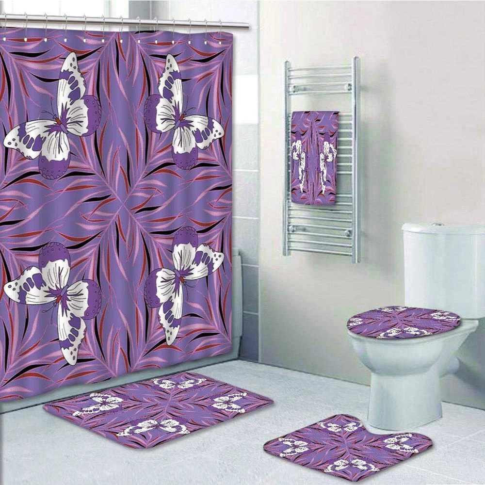 prtau exquisite butterfly icons spiritual animal with wings fairy lavender 5 piece bathroom set shower curtain bath towel bath rug contour mat and