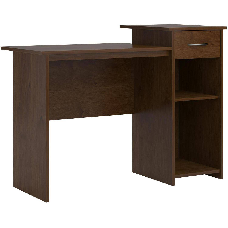 mainstays student desk with easy glide drawer black oak