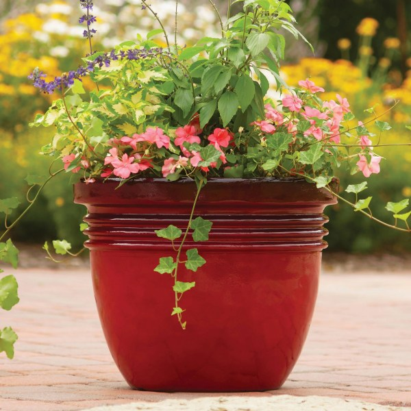 Better Homes and Gardens Bombay Decorative Outdoor Planter  Red     Better Homes and Gardens Bombay Decorative Outdoor Planter  Red Sedona    16    Walmart com