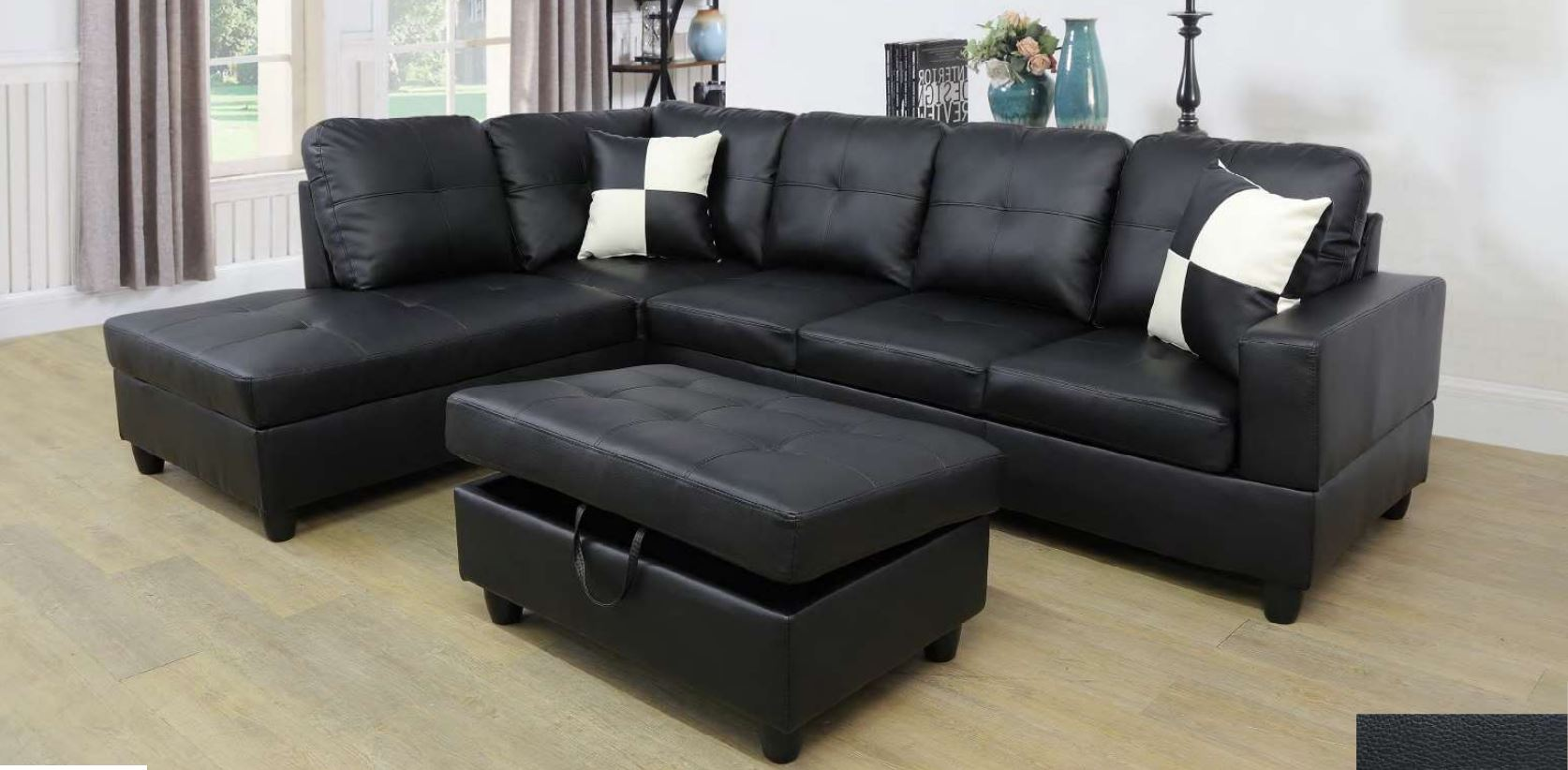 ult classic black faux leather sectional sofa left facing chaise 74 5 d x 103 5 w x 35 h