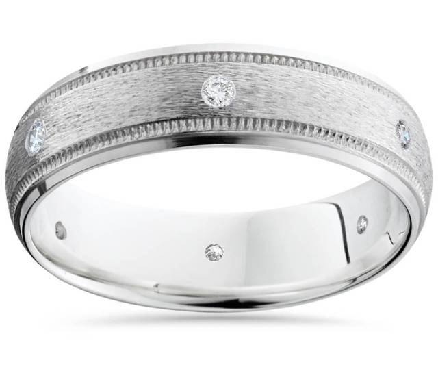 Pompeiik White Gold Diamond Wedding Brushed Band Ring Walmart Com