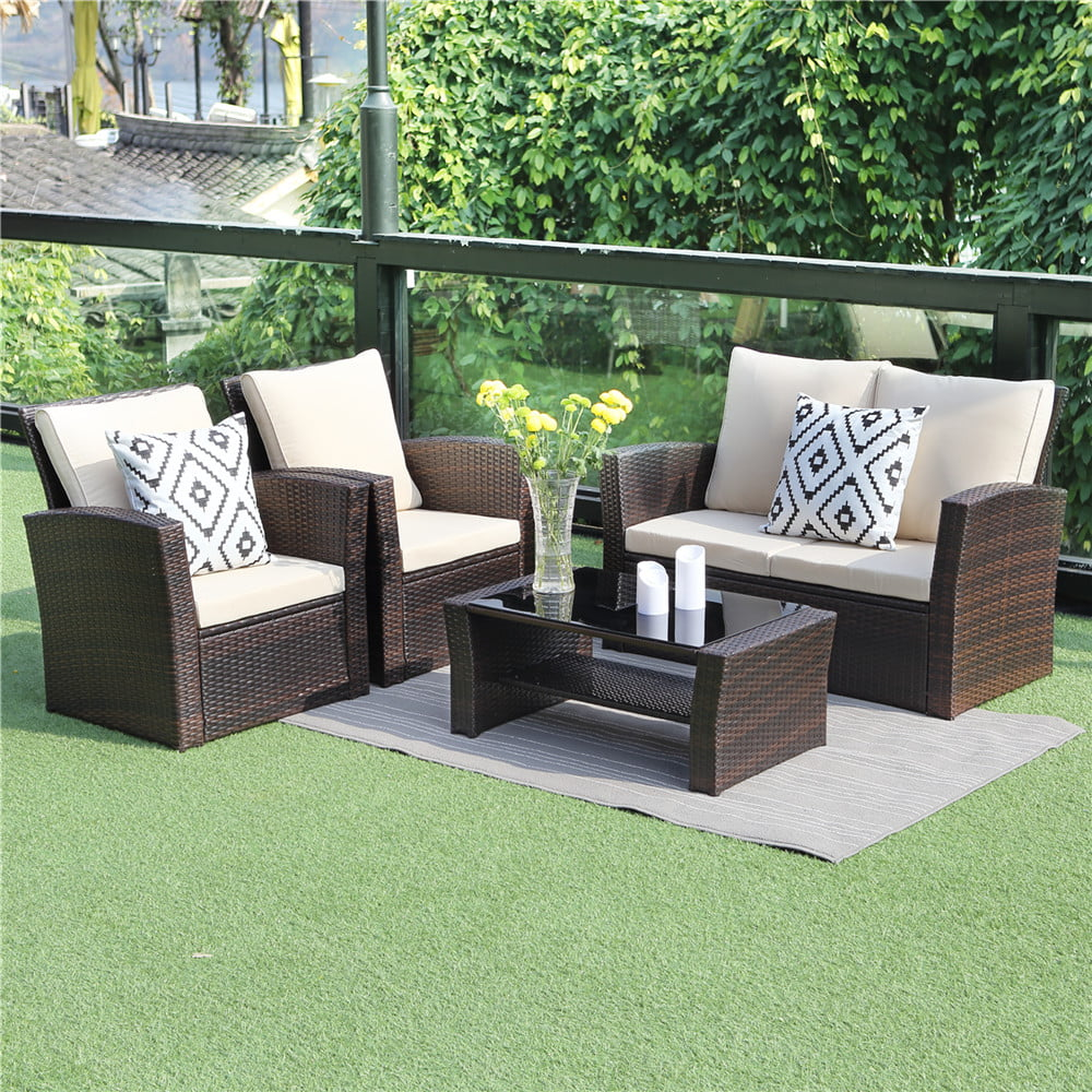 5 piece outdoor patio furniture sets wicker rattan sectional sofa with seat cushions brown