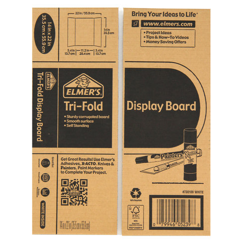 elmer s trifold white corrugate display board 14 x 22