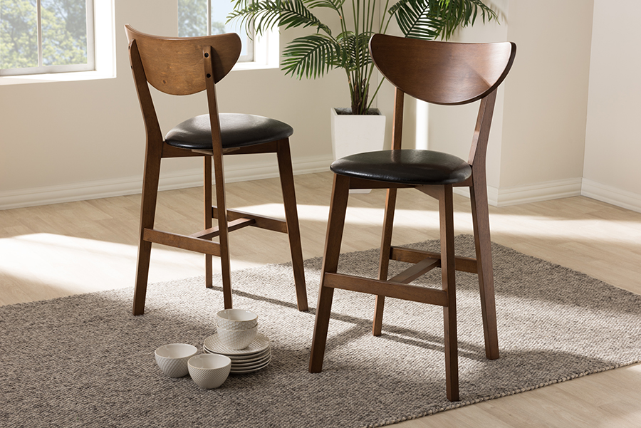 set of 2 baxton studio eline mid century modern black faux leather upholstered walnut finished counter stool walmart com