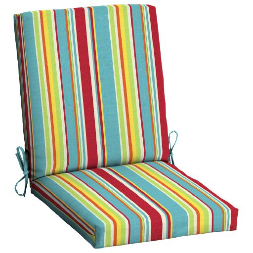 mainstays multi stripe 43 x 20 in 1 piece outdoor dining chair cushion