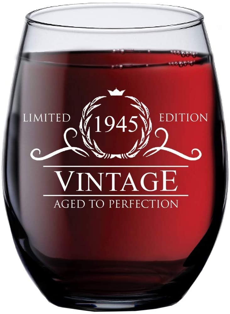 1945 75th birthday gifts for women men 15 oz stemless wine glass 75 year old gift present ideas for mom dad funny vintage unique personalized