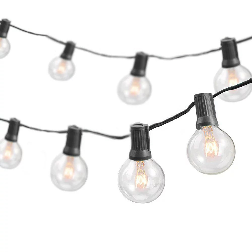 50 foot 50 socket indoor outdoor patio string lights with 55 incandescent globe g40 bulbs 5 free bulbs included great wedding lights decorations