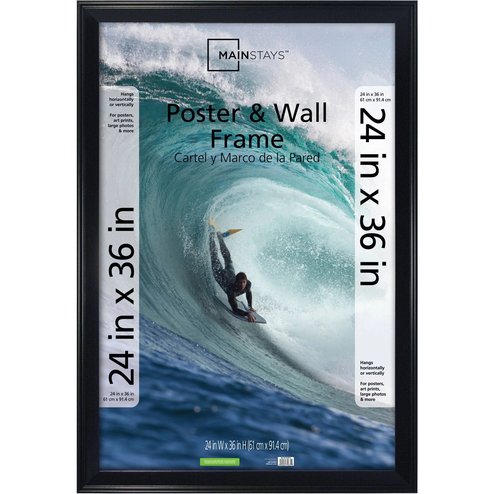 mainstays 24x36 casual poster and picture frame black