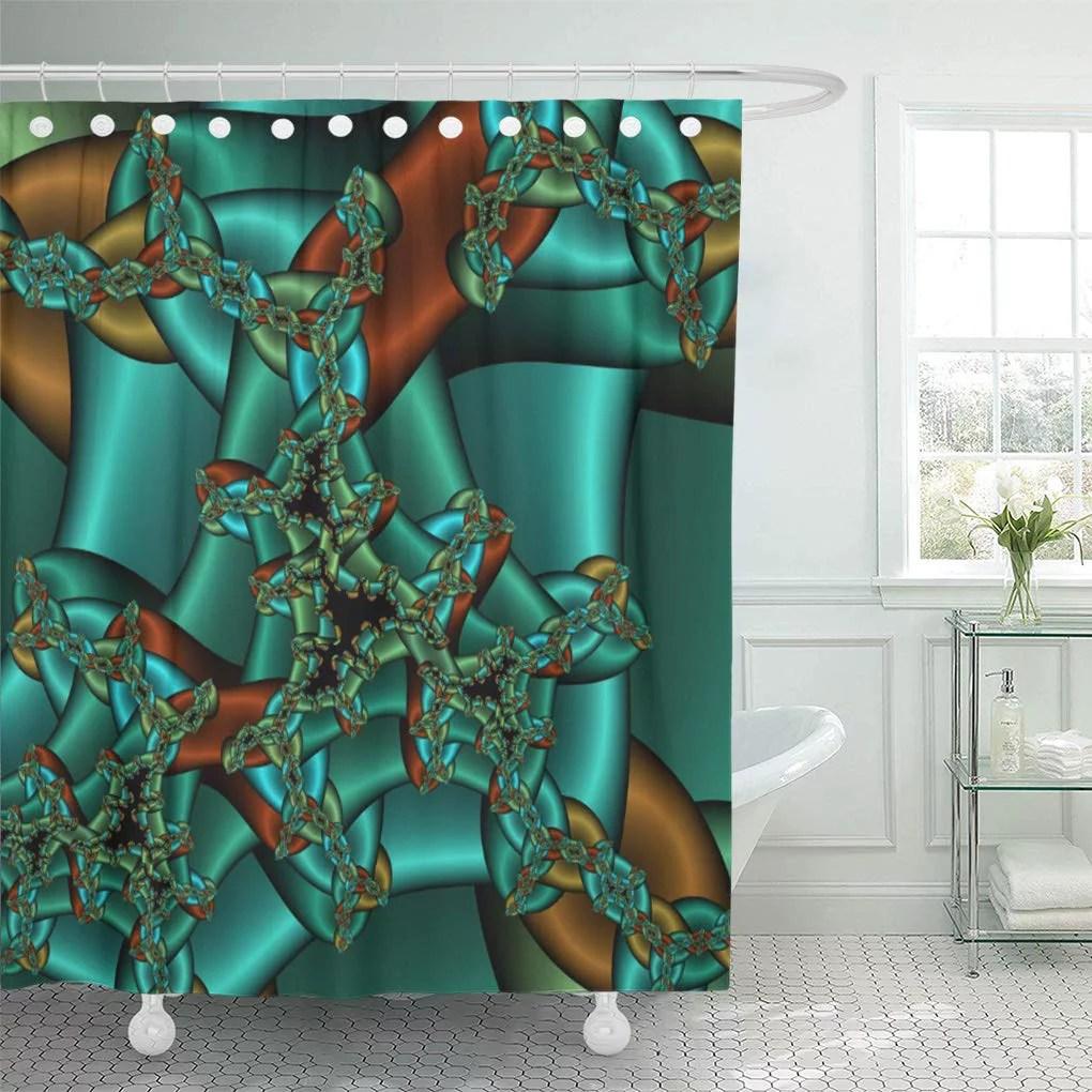cynlon gold rust and teal bathroom decor bath shower curtain 66x72 inch walmart com