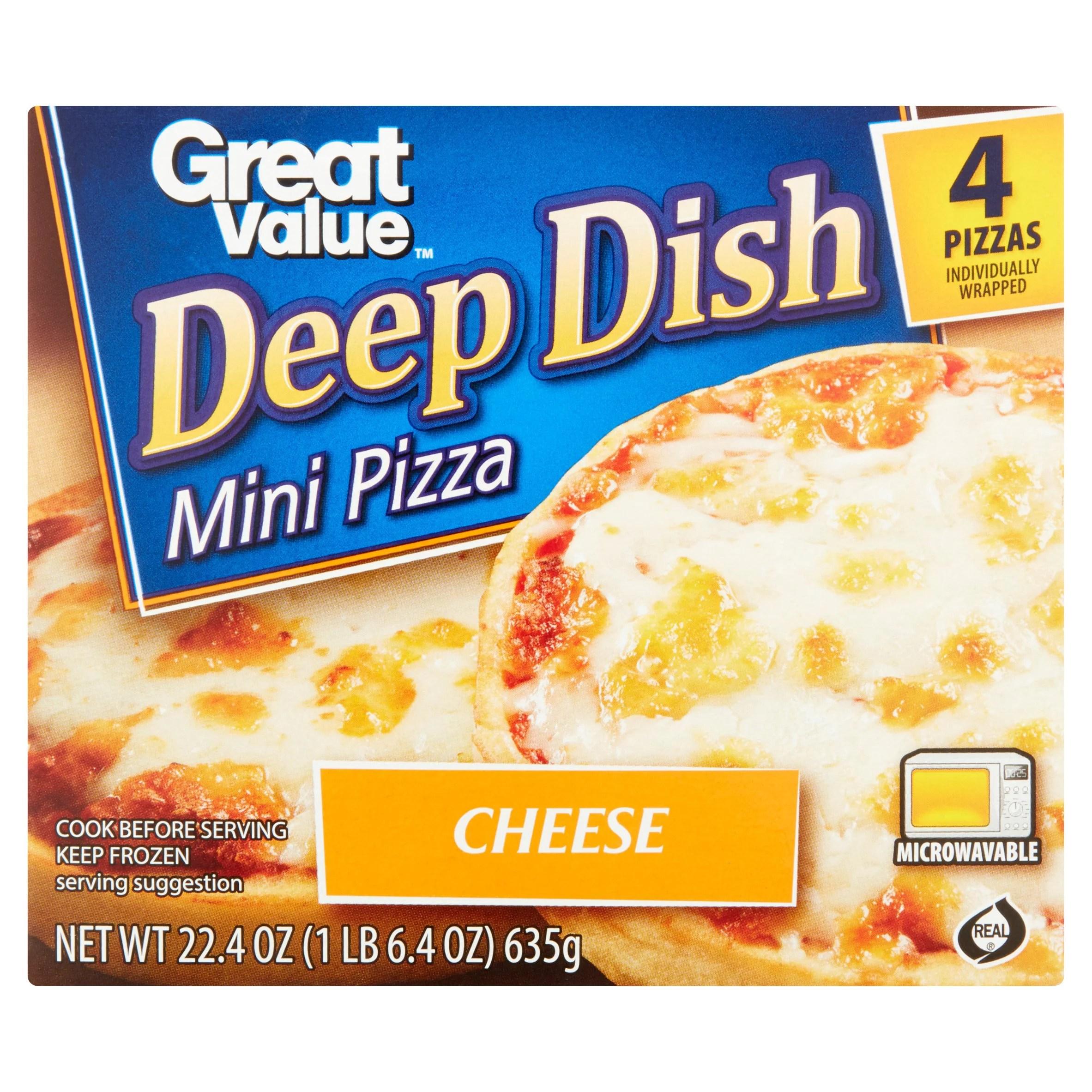 great value deep dish mini pizza cheese 22 4 oz 4 count walmart com