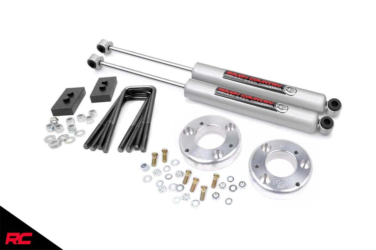 Rough Country 2″ Leveling Kit (fits) 2009-2013 F150 | N3 Rear Shocks | Billet Suspension System | 56830