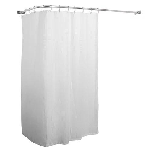 utopia alley aluminum rustproof 66 l shaped fixed shower curtain rod walmart com
