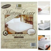 King Size Fabric Zippered Mattress Cover Waterproof Bed Bug Dust Mite Protector