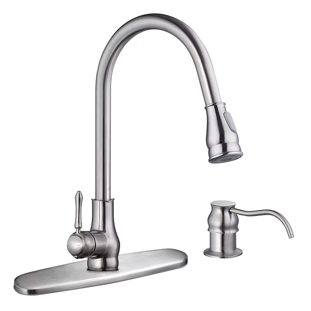 aquaterior single handle kitchen faucet 360 swivel pull down sprayer w soap dispenser brushed nickel oil rubbed bronze home cupc nsf