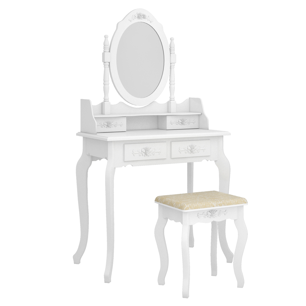 white vanity table stylish makeup vanity set with tri folding mirror wood dressing table 7 drawers storage bedroom furniture for girls women wood