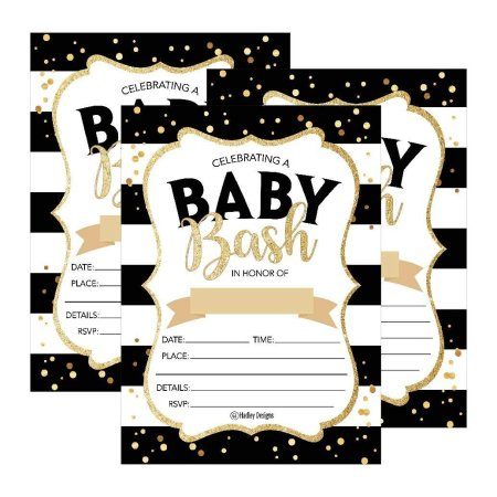 25 Black Gold Bash Baby Shower Invitations Cute Printed Fill Or Write In Blank Invite For Boys S Printable Shabby Chic Unique Custom Vintage