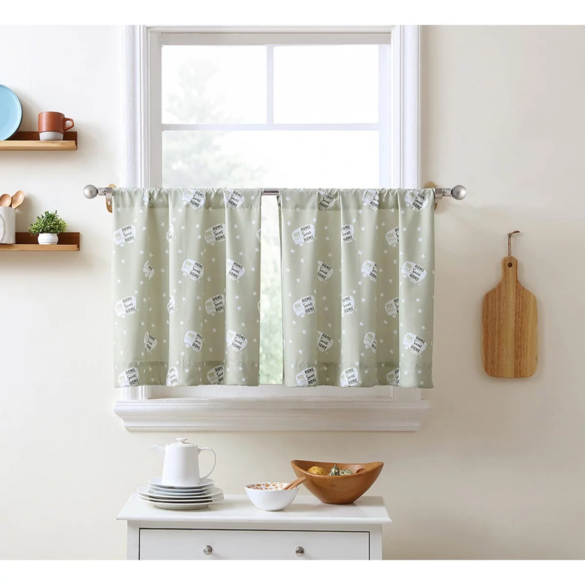 love my rv retro camper motorhome 2 panel kitchen cafe half window curtains rod pocket 30 x 24 brown tan walmart com