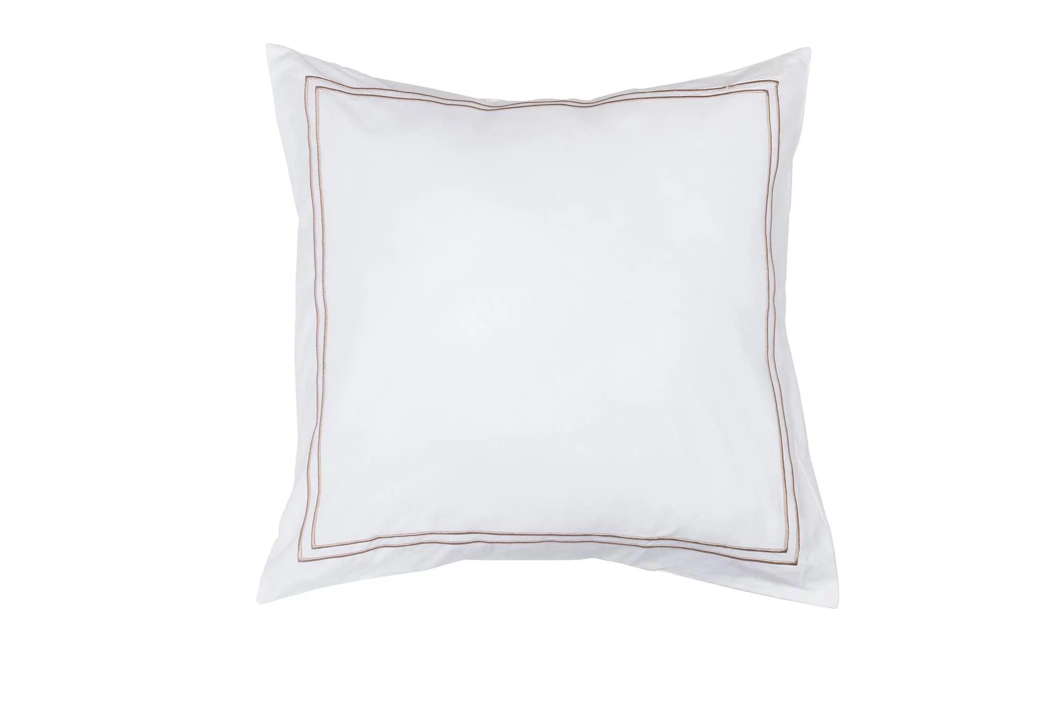 single 1 100 cotton pure white euro square size pillow sham decorative baratta stitch 26in x 26in gold