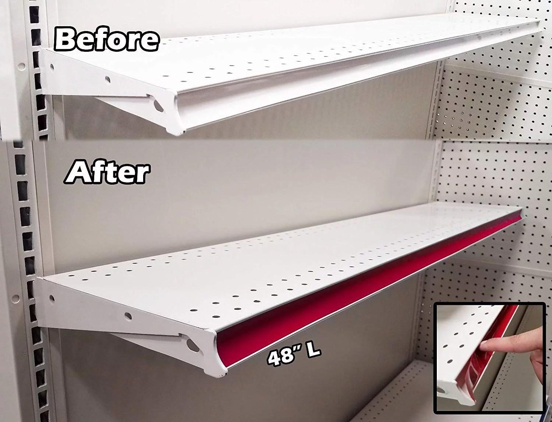 100 Pack Decorative Gondola Shelving Pre Cut Vinyl Insert Strips 48 X 1 25 Shelf C Channel Red