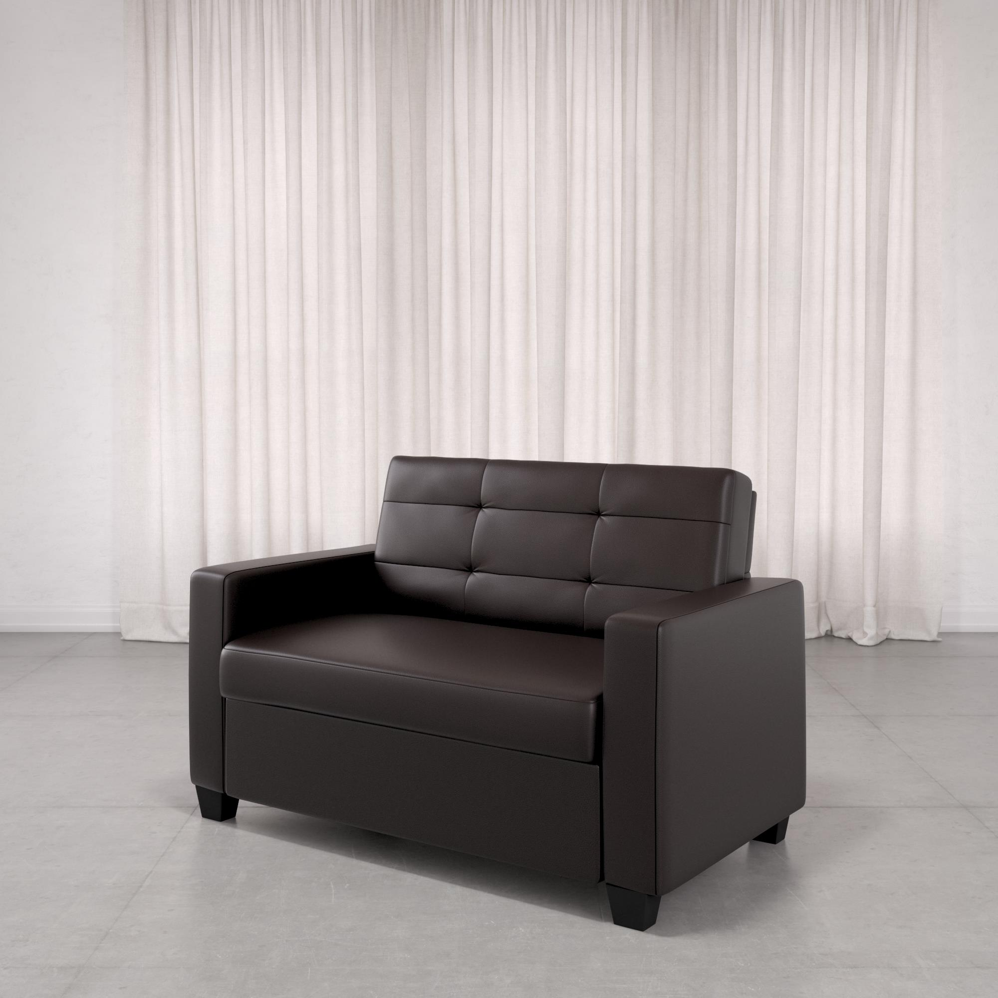 Mainstays Loveseat Sleeper Sofa Twin Chocolate Faux Leather Walmart Com Walmart Com