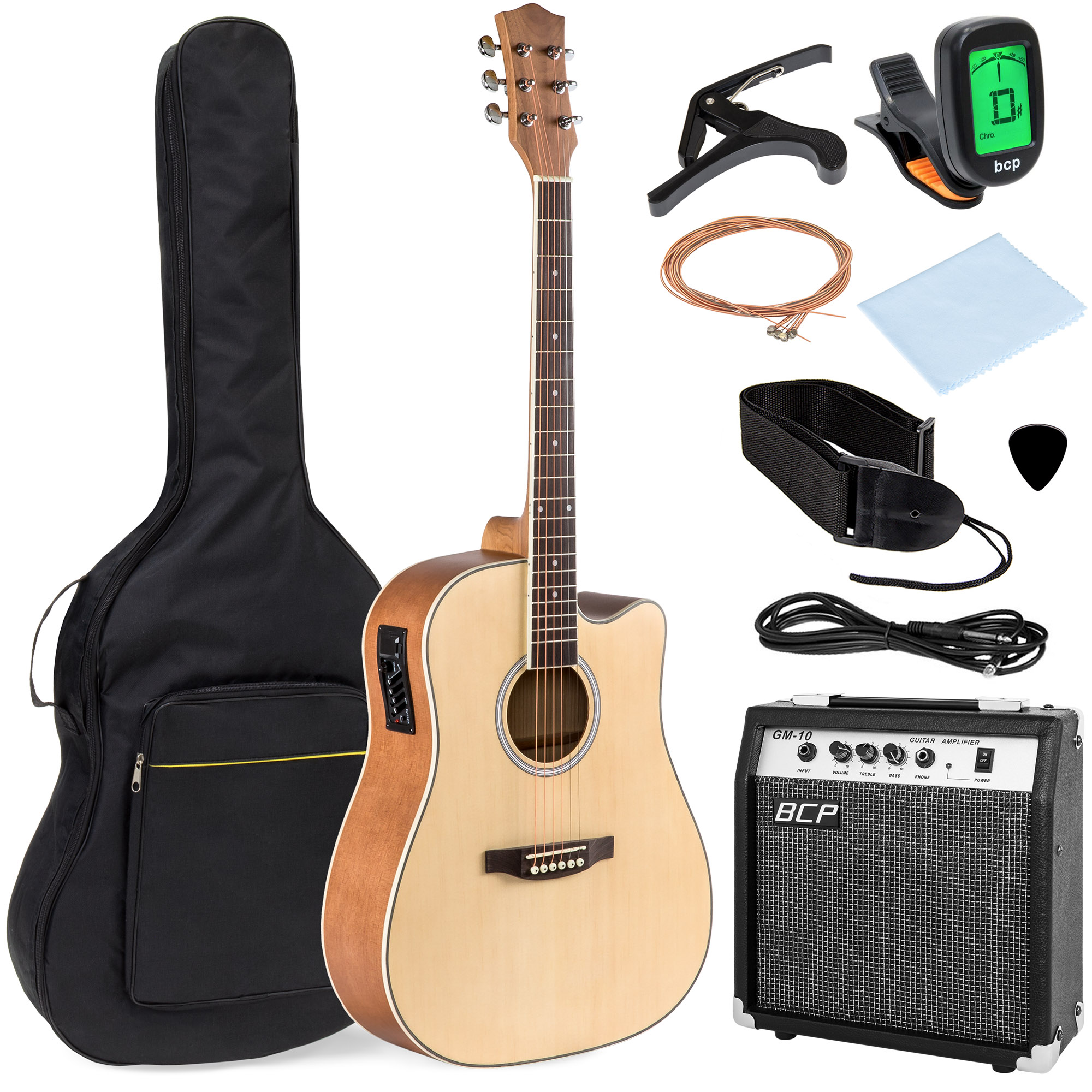 Best Choice Products 41in Full Size Acoustic Electric Cutaway Guitar Set w/ 10-Watt Amp, Capo, E-Tuner, Case – Natural