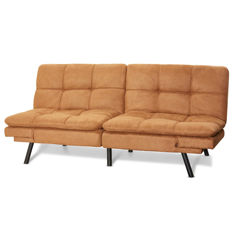 mainstays memory foam futon camel suede