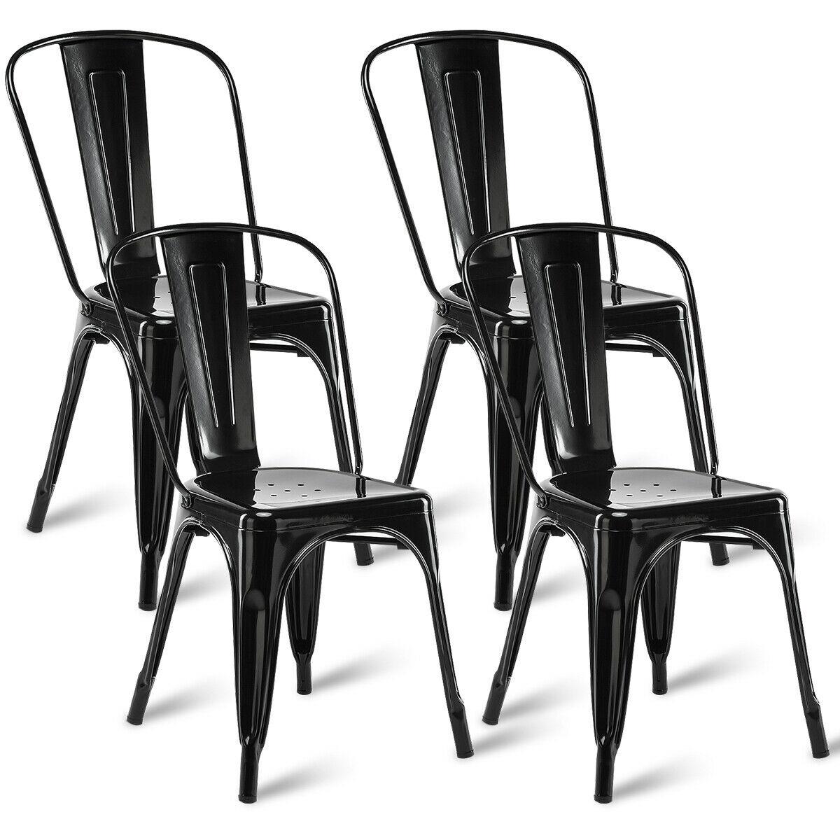 Set Of 4 Dining Side Chair Stackable Bistro Cafe Metal Stool Vintage