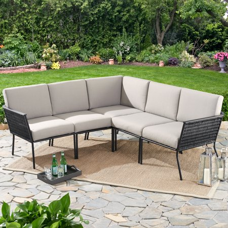 mainstays dagna 5 piece patio sectional set with gray cushions walmart com