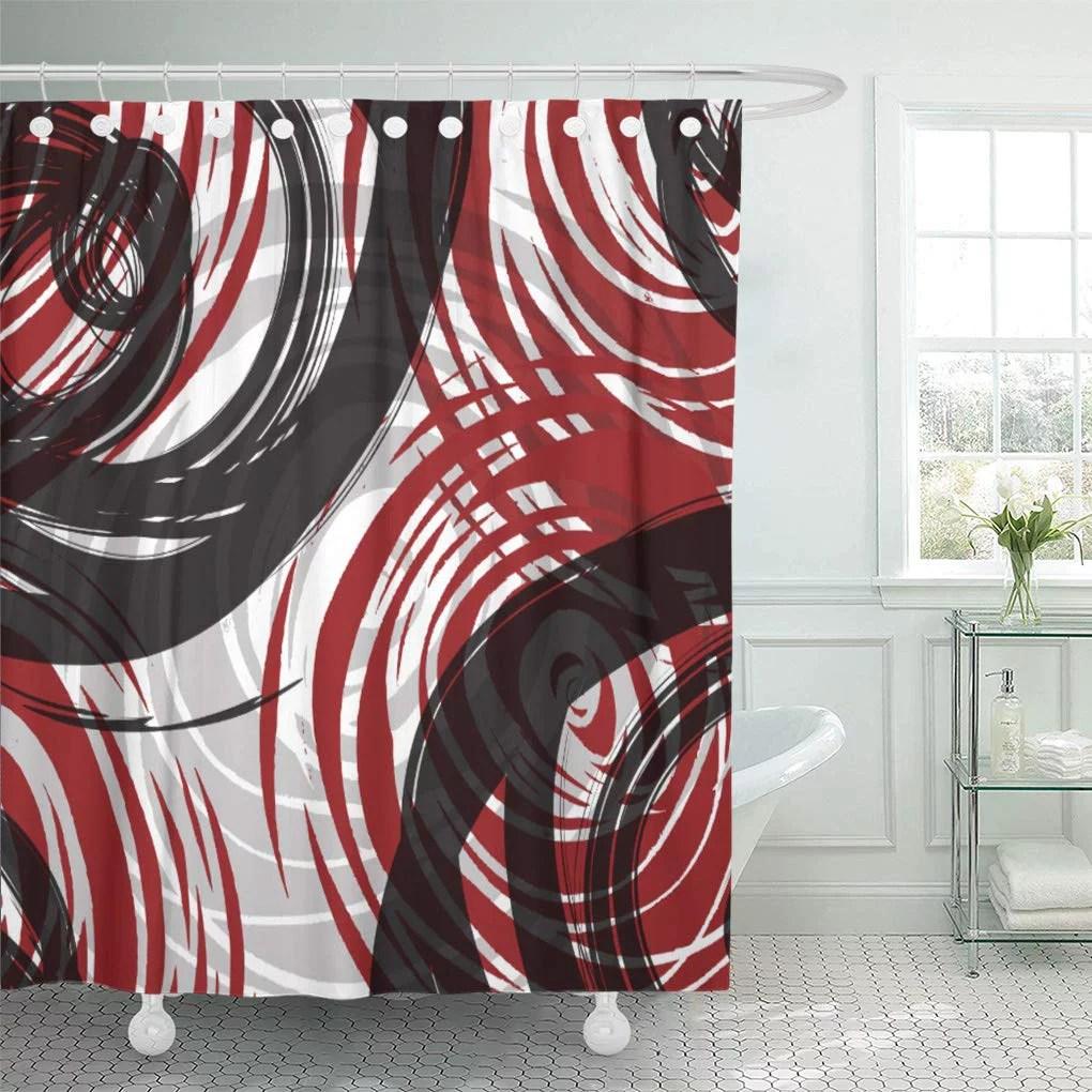 suttom gray black red spiral bold grey shower curtain 66x72 inch walmart com