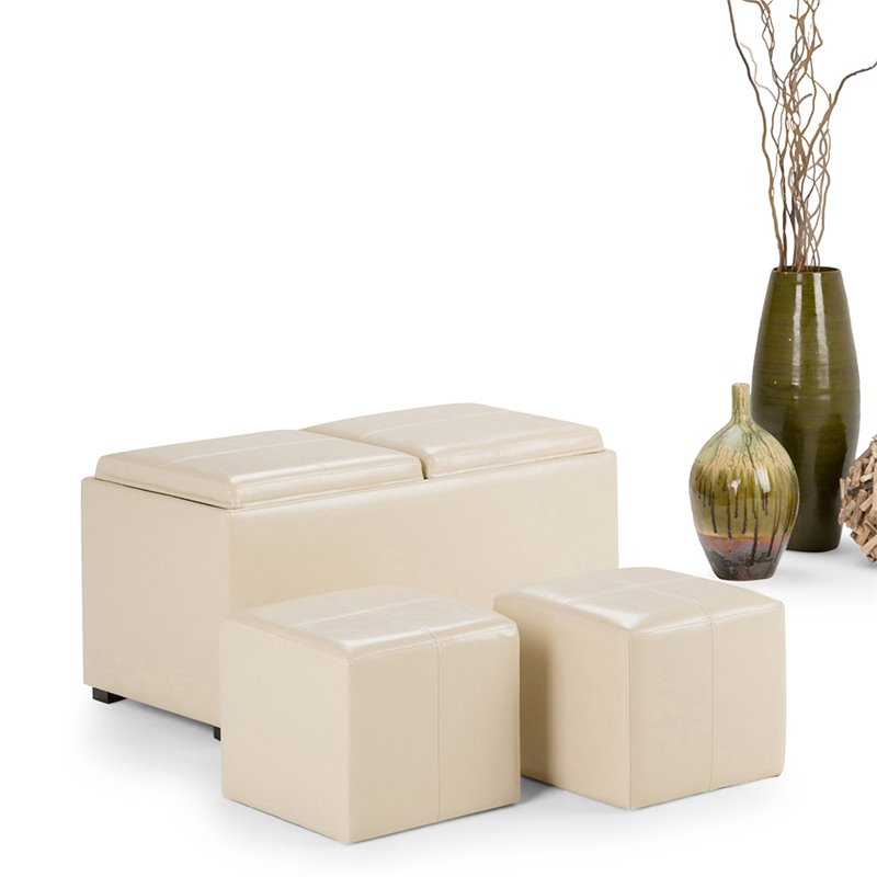 atlin designs contemporary 35 rectangle faux leather 5 piece storage ottoman coffee table with 2 serving trays in cream