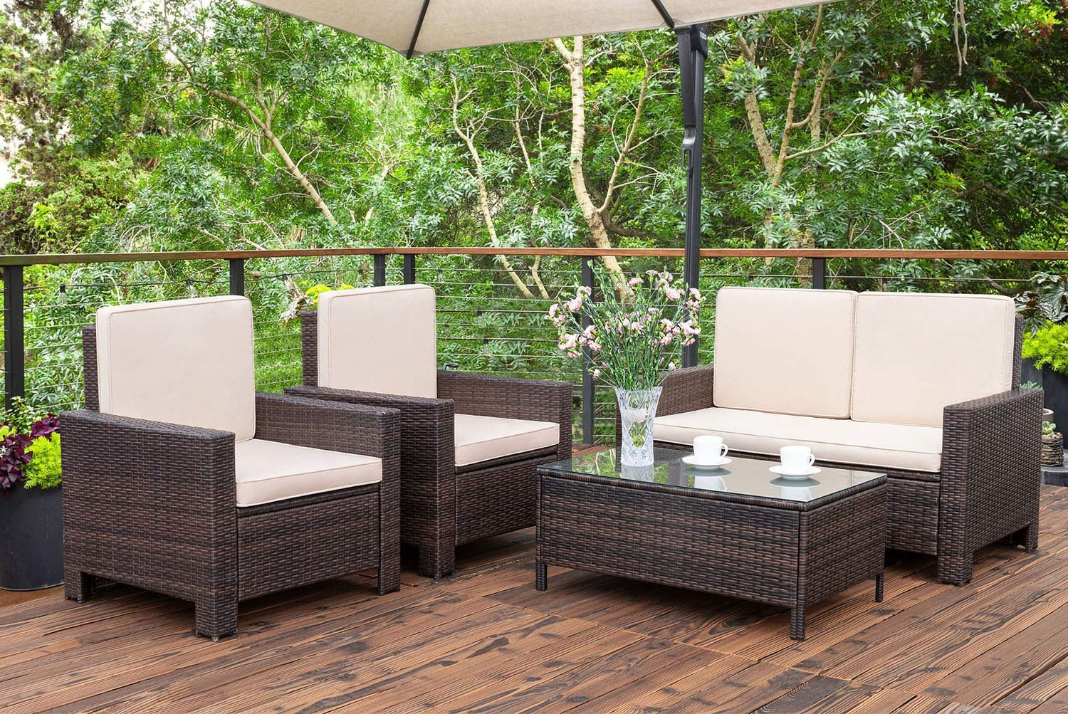 walnew 4 pieces outdoor patio furniture sets rattan chair on Backyard Outdoor Furniture id=19216